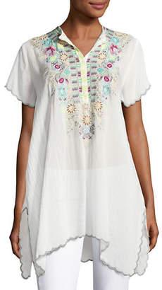 18e243ed6a6ef Johnny Was Livana Embroidered Short-Sleeve Tunic