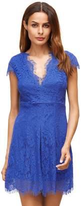 Shein Royal Blue Deep V Neck Cap Sleeve Lace Dress