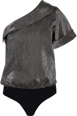 Alix Malcom One-Shoulder Lamé And Stretch-Jersey Bodysuit