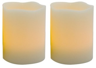 "Candle Choice Set of 2 Real Wax Realistic Flickering Magic LED Candles, Blow them out like a real candle, shake them to turn on/off, Battery Operated Candles, uses AAA batteries, 3"" dia x 4"" height"