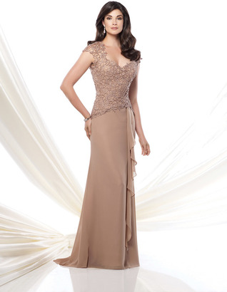 Montage by Mon Cheri - 115967 Long Dress In Taupe $505 thestylecure.com