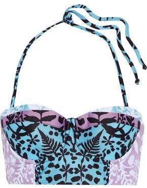 Mara Hoffman Lace-Up Printed Padded Bandeau Bikini Top