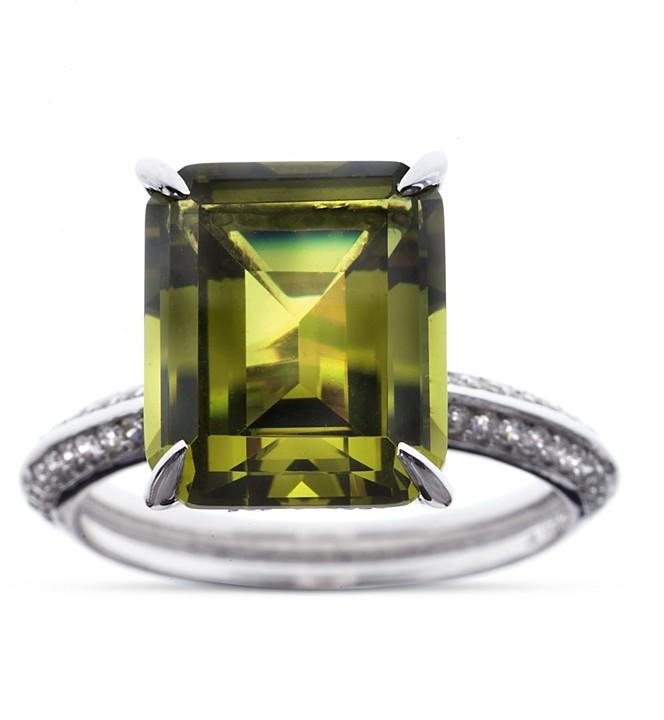 Crislu Green Cubic Zirconia Ring
