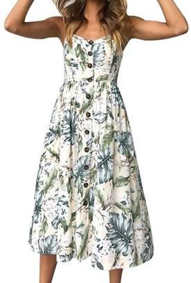 bc86b78f4ee9 KMG Kimloog Women Sleeveless Summer Tropical Leaves Printed Button Halter  Long Dress (M, Blue1