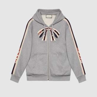 Gucci Oversize zip up sweatshirt with stripe