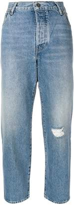Levi's high rise cropped ripped jeans