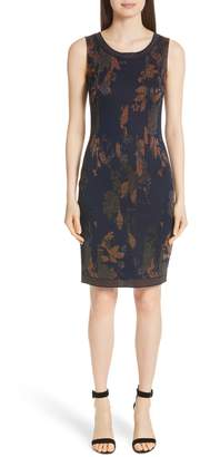 St. John Leafed Copper Jacquard Sheath Dress