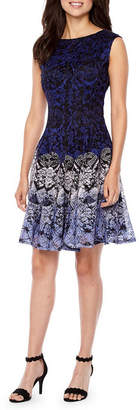 Danny & Nicole Sleeveless Lace Circles Fit & Flare Dress