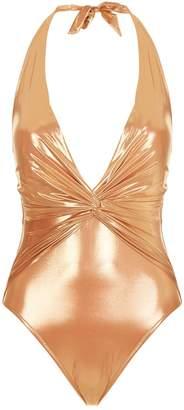 Gottex Metallic Knot Halterneck Swimsuit