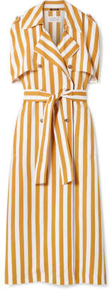Maison Margiela Striped Crepe Maxi Dress - Yellow