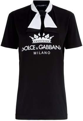 Dolce & Gabbana Tie Neck Logo T-Shirt