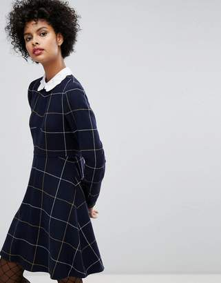 Sonia Rykiel Sonia by Sonia By Big Checked Wool Dress With Embroidered Collar