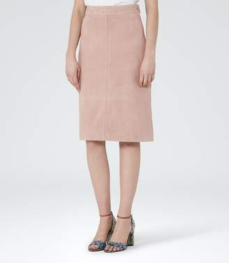 Reiss Tess Suede A-Line Pencil Skirt