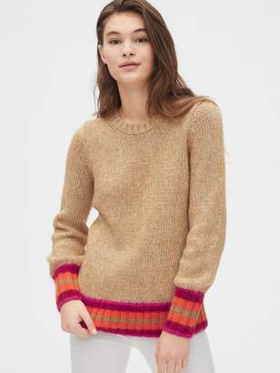 Gap Stripe-Cuff Crewneck Sweater