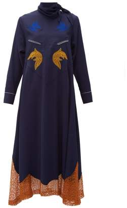 Toga Tie Neck Embroidered Midi Dress - Womens - Navy
