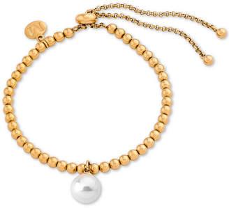 Majorica Gold-Tone Imitation Pearl Charm Beaded Slider Bracelet