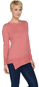 LOGO by Lori Goldstein Cotton Slub Knit Sweaterw/ Rib Hem