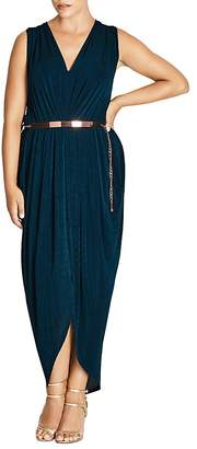 City Chic Pleated Velvet Maxi Dress