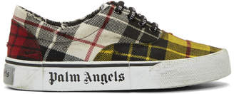 Palm Angels Yellow Distressed Tartan Sneakers