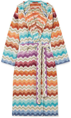 Missoni Home Hooded Cotton-terry Robe - Blue