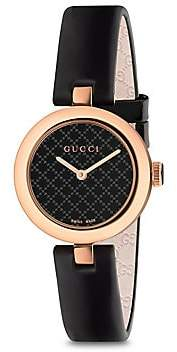 Gucci Women's Diamantissima Rose Gold PVD & Leather Strap Watch