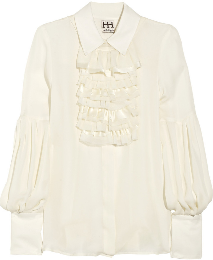 Haute Hippie Ruffled silk-chiffon blouse