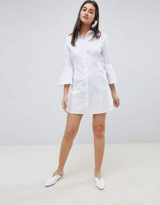 Girls On Film mini shirt dress with lace up side detail