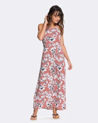 Roxy Womens Pavement Border Floral Print Strappy Maxi Dress