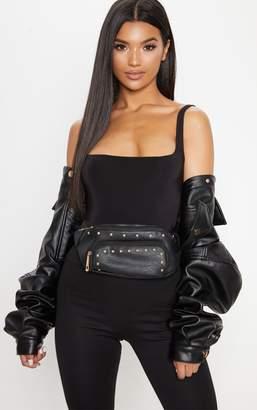 PrettyLittleThing Black Stud Bum Bag