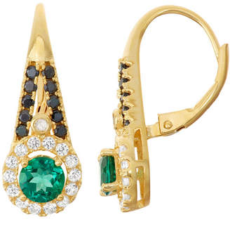 FINE JEWELRY Diamond-Accent Lab Created Emerald Genuine Black Spinel & Created White Sapphire 14K Gold Over Silver Leverback Earring