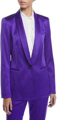 Escada Jewel One-Button Shawl-Collar Duchess Satin Jacket