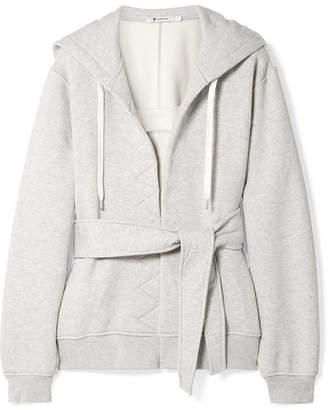 Alexander Wang Belted Cotton-fleece Hooded Top - Light gray
