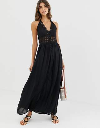 Asos Design DESIGN halter maxi dress with lace insert