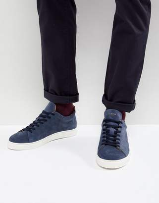 Selected Sneakers In Navy Suede With White Sole