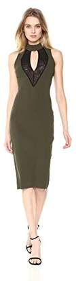 Rachel Roy Women's High Neck Mesh Front Midi Knit Dress