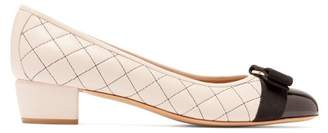 Salvatore Ferragamo Vara Quilted Leather Pumps - Womens - Black Nude