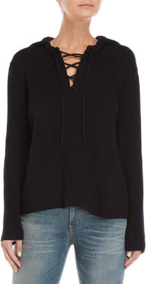 Le Mont St Michel Lace-Up Hooded Sweater