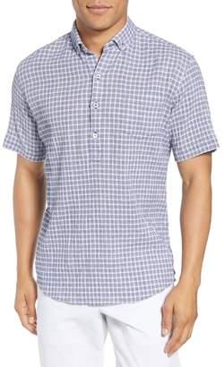 Zachary Prell Nicomini Trim Fit Plaid Popover Sport Shirt