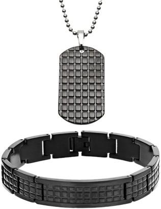Two Tone Stainless Steel Textured Dog Tag & Bracelet Set - Men