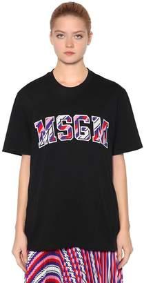 MSGM Logo Patches Cotton Jersey T-Shirt