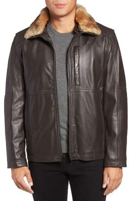 Andrew Marc Lambskin Leather Jacket w/ Genuine Rabbit Fur Trim