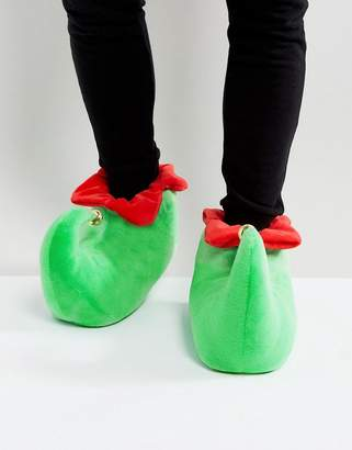 Asos DESIGN Holidays Elf Slippers In Green With Bell