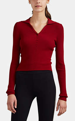 Live The Process Women's Rib-Knit Polo Top - Red