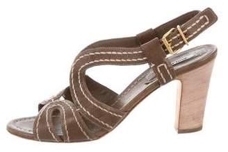 Miu Miu Leather Ankle Strap Sandals