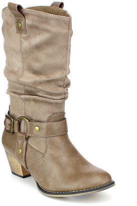 Taupe Buckle-Embellished Wild Boot $55 thestylecure.com