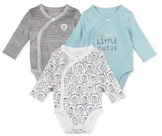 M·A·C Mac & Moon Long Sleeve Kimono Wrap Bodysuits, 3-pack (Baby Boys or Baby Girls Unisex)