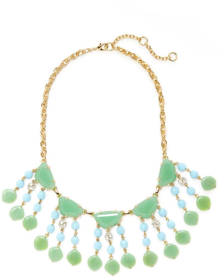 Gerard Yosca Jade & Turquoise Fringe Bib Necklace