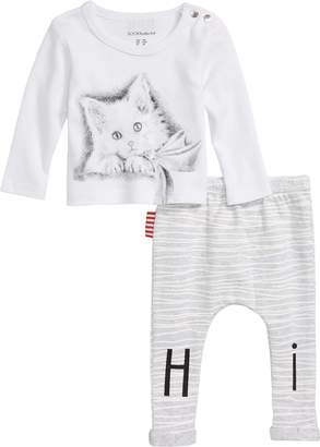 SOOKIbaby Cat Screenprint Tee & Stripe Leggings Set