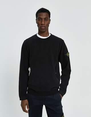 Stone Island Stretch Mercerized Fleece Crewneck Sweatshirt in Black
