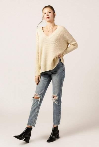 Long Sleeve V Neck Rib Sweater